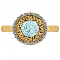 Aquamarine & Diamond Swirl Halo Engagement Ring 14k Yellow Gold (1.24ct)
