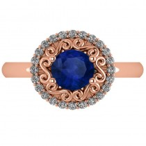 Blue Sapphire & Diamond Halo Engagement Ring 14k Rose Gold (1.24ct)