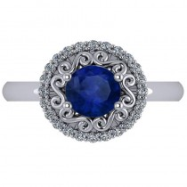 Blue Sapphire & Diamond Halo Engagement Ring 14k White Gold (1.24ct)