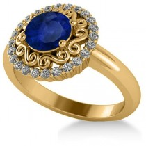 Blue Sapphire & Diamond Halo Engagement Ring 14k Yellow Gold (1.24ct)