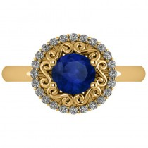 Blue Sapphire & Diamond Halo Engagement Ring 14k Yellow Gold (1.24ct)