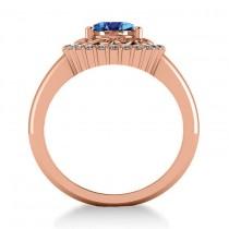 Blue Topaz & Diamond Swirl Halo Engagement Ring 14k Rose Gold (1.24ct)