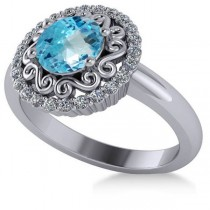 Blue Topaz & Diamond Swirl Halo Engagement Ring 14k White Gold (1.24ct)