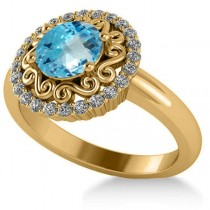 Blue Topaz & Diamond Swirl Halo Engagement Ring 14k Yellow Gold (1.24ct)