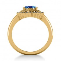 Blue Topaz & Diamond Swirl Halo Engagement Ring 14k Yellow Gold (1.24ct)