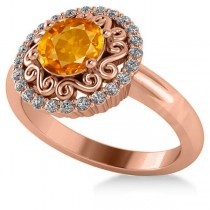 Citrine & Diamond Swirl Halo Engagement Ring 14k Rose Gold (1.24ct)