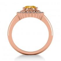 Citrine & Diamond Swirl Halo Engagement Ring 14k Rose Gold (1.24ct)