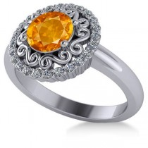 Citrine & Diamond Swirl Halo Engagement Ring 14k White Gold (1.24ct)
