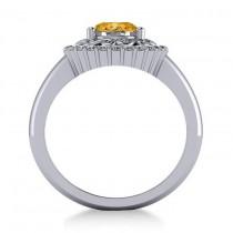 Citrine & Diamond Swirl Halo Engagement Ring 14k White Gold (1.24ct)