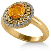 Citrine & Diamond Swirl Halo Engagement Ring 14k Yellow Gold (1.24ct)
