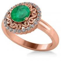 Emerald & Diamond Swirl Halo Engagement Ring 14k Rose Gold (1.24ct)