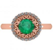 Emerald & Diamond Swirl Halo Engagement Ring 14k Rose Gold (1.24ct)