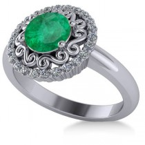 Emerald & Diamond Swirl Halo Engagement Ring 14k White Gold (1.24ct)