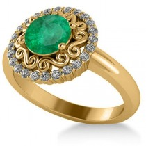 Emerald & Diamond Swirl Halo Engagement Ring 14k Yellow Gold (1.24ct)