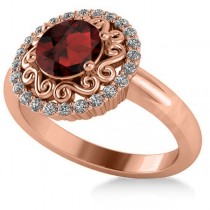 Garnet & Diamond Swirl Halo Engagement Ring 14k Rose Gold (1.24ct)