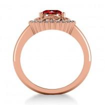 Garnet & Diamond Swirl Halo Engagement Ring 14k Rose Gold (1.24ct)