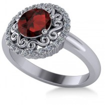 Garnet & Diamond Swirl Halo Engagement Ring 14k White Gold (1.24ct)