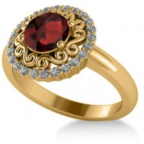 Garnet & Diamond Swirl Halo Engagement Ring 14k Yellow Gold (1.24ct)