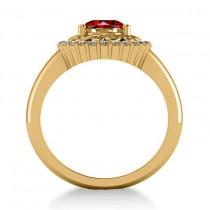 Garnet & Diamond Swirl Halo Engagement Ring 14k Yellow Gold (1.24ct)