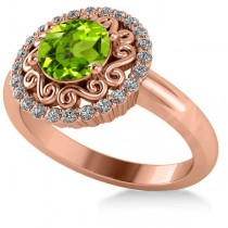 Peridot & Diamond Swirl Halo Engagement Ring 14k Rose Gold (1.24ct)