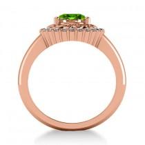 Peridot & Diamond Swirl Halo Engagement Ring 14k Rose Gold (1.24ct)