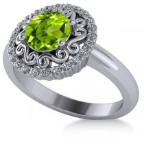 Peridot & Diamond Swirl Halo Engagement Ring 14k White Gold (1.24ct)