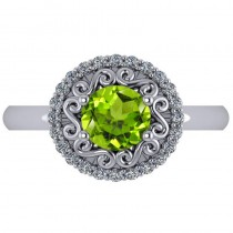 Peridot & Diamond Swirl Halo Engagement Ring 14k White Gold (1.24ct)