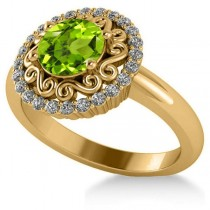 Peridot & Diamond Swirl Halo Engagement Ring 14k Yellow Gold (1.24ct)