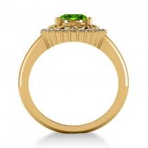 Peridot & Diamond Swirl Halo Engagement Ring 14k Yellow Gold (1.24ct)