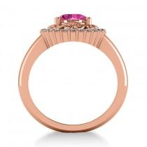 Pink Sapphire & Diamond Halo Engagement Ring 14k Rose Gold (1.24ct)
