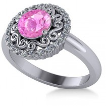 Pink Sapphire & Diamond Halo Engagement Ring 14k White Gold (1.24ct)