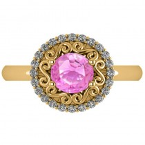 Pink Sapphire & Diamond Halo Engagement Ring 14k Yellow Gold (1.24ct)