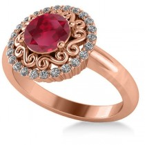 Ruby & Diamond Swirl Halo Engagement Ring 14k Rose Gold (1.24ct)