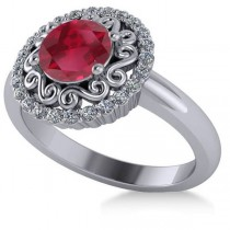 Ruby & Diamond Swirl Halo Engagement Ring 14k White Gold (1.24ct)