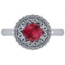 Ruby & Diamond Swirl Halo Engagement Ring 14k White Gold (1.24ct)