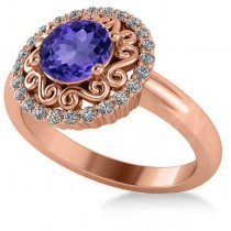 Tanzanite & Diamond Swirl Halo Engagement Ring 14k Rose Gold (1.24ct)