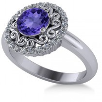 Tanzanite & Diamond Swirl Halo Engagement Ring 14k White Gold (1.24ct)