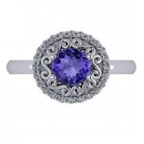 Tanzanite & Diamond Swirl Halo Engagement Ring 14k White Gold (1.24ct)