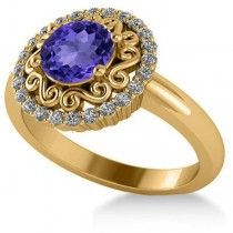 Tanzanite & Diamond Swirl Halo Engagement Ring 14k Yellow Gold (1.24ct)