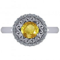 Yellow Sapphire & Diamond Halo Engagement Ring 14k White Gold (1.24ct)
