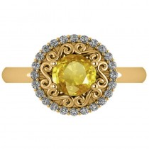 Yellow Sapphire & Diamond Halo Engagement Ring 14k Yellow Gold (1.24ct)