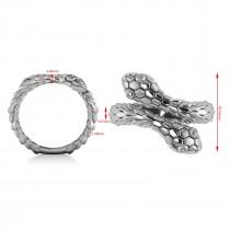 Diamond Double Snake Fashion Ring 14k White Gold (0.04ct)