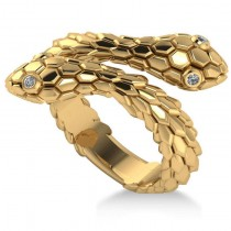 Diamond Double Snake Fashion Ring 14k Yellow Gold (0.04ct)