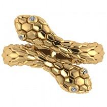 Diamond Double Snake Fashion Ring 14k Yellow Gold (0.04ct)