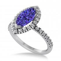 Tanzanite & Diamond 35-Stone Marquise Engagement Ring 14k White Gold (1.84ct)