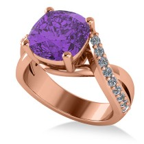 Twisted Cushion Amethyst Engagement Ring 14k Rose Gold (4.16ct)