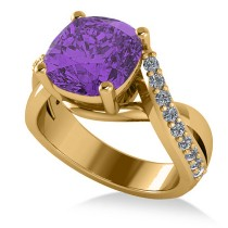Twisted Cushion Amethyst Engagement Ring 14k Yellow Gold (4.16ct)