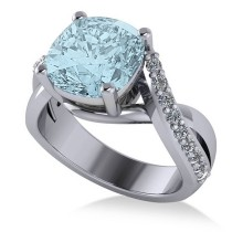 Twisted Cushion Aquamarine Engagement Ring 14k White Gold (4.16ct)