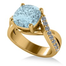 Twisted Cushion Aquamarine Engagement Ring 14k Yellow Gold (4.16ct)