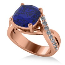 Twisted Cushion Blue Sapphire Engagement Ring 14k Rose Gold (4.16ct)